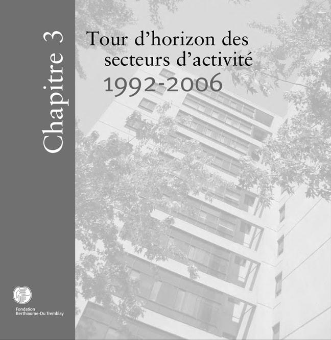 Chapitre 3-Tour d'horizon des secteurs d'activité, 1992 à 2006